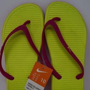 Nike Solarsoft Thong 2 Yellow Pink 488161-702 8-10